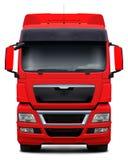 Främre sikt för röd lastbil Royaltyfri Fotografi