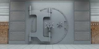 Främre sikt för stängda enorma dörrar för bankvalv Arkivbilder