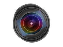 Främre sikt för stor bred vinkelfotolins som isoleras med att fästa ihop PA royaltyfria bilder