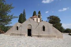 främre sikt Hög-res av den Panagia Kera kyrkan nära Kritsa, Kreta, Gre Royaltyfri Foto