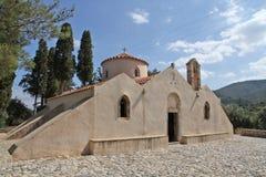 främre sikt Hög-res av den Panagia Kera kyrkan nära Kritsa, Kreta, Gre Fotografering för Bildbyråer