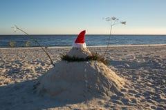 Främre sikt Santa Snowman Royaltyfri Bild