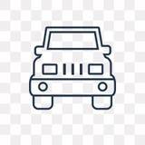 Främre vektorsymbol för jeep som isoleras på genomskinlig bakgrund, linea stock illustrationer