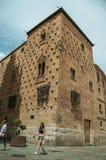 Främst byggnad för folk som smyckas av skal på Salamanca arkivfoto