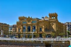 Främsta fasad av den Victoria Eugenia teatern i Donostia, San Sebastian Royaltyfri Foto
