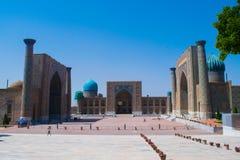 Främsta fyrkant i Samarkand arkivbild