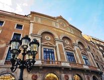 Främsta teater, Rambla gata, Barcelona Arkivfoto