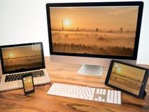 Fräser und drei Laptope Lizenzfreies Stockbild