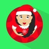 Fräulein Klaus Sankt mit dem runden Knopf der Schneeflocken, zum eines grünen Hintergrundvektors an zu klicken Stockfotos