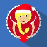 Fräulein Klaus Sankt mit Schneeflockenherzen in den Händen des runden Knopfes, zum eines blauen Hintergrundes an zu klicken Stockfoto