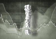 Fråga av finansiell tillväxt, tolkning 3d Royaltyfri Bild