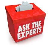 Fråga experterna, frågetillträdes somasken sänder hjälphjälpspetsar A Arkivbilder