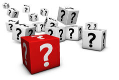 Fråga Mark Symbol On Cubes Royaltyfria Foton