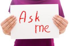 Fråga mig! Arkivbild