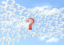 fråga tecken på den blåa skyen Fotografering för Bildbyråer