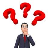 Frågade frågor för affärsman Thinking Indicates Frequently och omkring Arkivbild