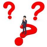 Frågade frågor för affärsman Thinking Indicates Frequently och omkring Royaltyfri Foto