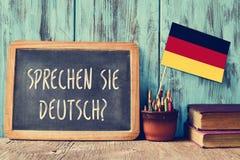 Frågan sprechen sie deutsch? talar du tysk? Fotografering för Bildbyråer