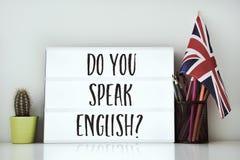 Frågan talar du engelska? royaltyfri bild