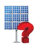 Frågefläck över en sol- panel Fotografering för Bildbyråer
