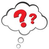 Frågefläck i ett moln Royaltyfri Bild