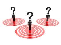 Frågefläck med röda mål Arkivfoton