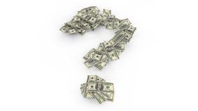 Frågefläck med textur av dollaren som isoleras på vit bakgrund royaltyfri illustrationer
