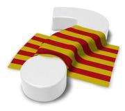 Frågefläck och flagga av catalonia Arkivfoton