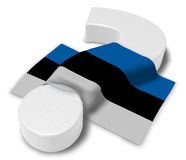 Frågefläck och flagga av Estland Royaltyfri Foto