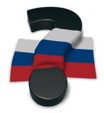 Frågefläck och flagga av Ryssland Arkivfoto