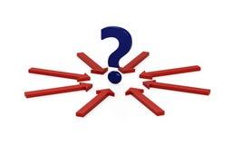 Frågefläck och många pilar med beslut stock illustrationer