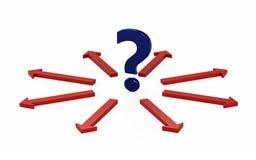 Frågefläck och många pilar med beslut vektor illustrationer