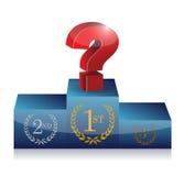 Frågefläck på det första stället. podiumillustration royaltyfri illustrationer
