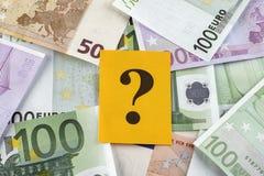 Frågefläck på eurosedlar Royaltyfri Fotografi