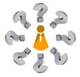 Frågefläck runt om en symbol Arkivbilder