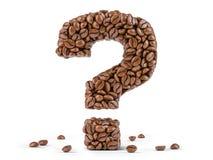 Fr?gefl?ck som skapas fr?n kaffeb?nor som isoleras p? vit bakgrund arkivbilder