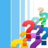 Frågefläckar föreställer vanliga frågor och att fråga Royaltyfria Bilder