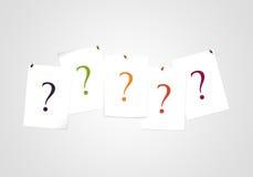 Frågefläckar på anmärkning - finna en lösning - frågesport- och affärshjälp Arkivbild
