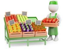 frågewhite för folk 3d grönsakshandlare Royaltyfria Foton