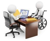 frågewhite för folk 3d Handikappad person i jobbintervju Arkivfoto