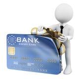 frågewhite för folk 3d Man som mycket öppnar en kreditkort av euromynt Royaltyfri Foto