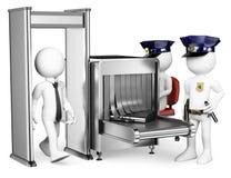 frågewhite för folk 3d Tillträde för säkerhetskontrollflygplats Metalldetektor Royaltyfri Bild