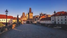 Från Charles Bridge Prague, Tjeckien Arkivbilder