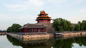 Från dag till natten olik sikt av Forbidden City, Peking, Kina arkivfilmer