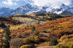 Från Dallas Divide beskådas det monteringsSneffels området inom den Uncompahgre nationalskogen, Colorado royaltyfri fotografi