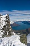 Från de anmärkningsvärda bergen över sjön Wakatipu, Nya Zeeland Arkivbild