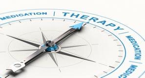 Från läkarbehandlingar till kompletterande eller alternativ behandling för terapi - för fördjupningsbegrepp stock illustrationer