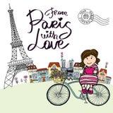 Från Paris med förälskelsekortet royaltyfri illustrationer