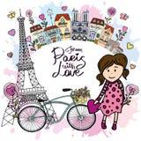 Från Paris med förälskelsekortet vektor illustrationer