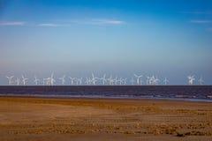 Frånlands- windfarm av kusten av Lincolnshire, UK arkivfoto